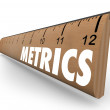 Metrics word on a wooden ruler — Stock Photo #50105227
