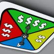 Dollar Sign Board Game Spinner Win Riches Lottery Take Chance — Stock Photo #50105247