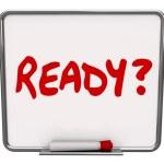 Pronto palavra seca apagar bordo preparado pergunta prontidão preparati — Fotografia Stock  #50105265