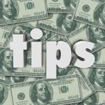 Tips Gratuity Word 3d Letters Money Cash Background — Stock Photo