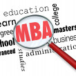 MBA Masters Business Administration Magnifying Glass Words — Stock Photo #50105397