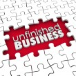 Unfinished Business Puzzle Pieces Hole Work Still to Be Done — Stock Photo #50105479