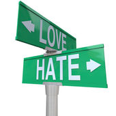 Love Vs Hate Road Signs Opposite Changing Feeling Relationship — Stockfoto