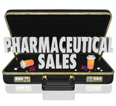 Pharmaceutical Sales Briefcase Medicine Samples Pills Capsules — Stock Photo