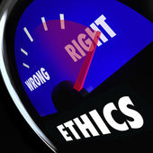 Ethics Gauge Measure Conscious Behavior Good Bad Right Wrong — Stock Photo
