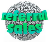 Referral Sales Words Money Dollar Sign Sphere Ball — Stock Photo