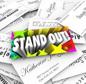 Stand Out Business Card Pile Be Unique Special Different — Foto de Stock