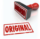 Original Word Stamp First Innovation Creative Originality Unique — Foto Stock