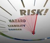 Risk Words Speedometer Measure — Stockfoto