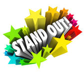 Stand Out Words Stars Be Special Unique Different from Competiti — Stock Photo
