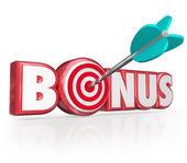 Regalo premium palabra bono 3d letras rojas, más beneficio adicional — Foto de Stock
