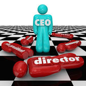 CEO word or abbreviation on a person standing on a chess board — Stock Photo