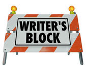 Writer's Block Words Road Construction Barrier Barricade — Stock Photo