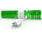 Conserve Power Electrical Cord Plug Save Energy Conservation — Stock Photo
