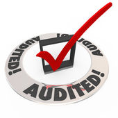 Audited Check Mark Box Financial Inspection Approval — Stock Photo