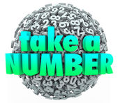 Take a Number words on a ball — Foto Stock