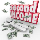 Segunda dinero rendimientos del trabajo trabajo cayendo lado gana más dinero — Foto de Stock