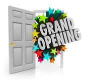 Grand Opening Words Stars Open Door Big Sale Invitation — Foto Stock