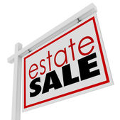 Estate Sign Homeowner Selling Possessions Inside House — Stock Photo