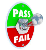 Pass Vs Fail Words Toggle Switch Grade Score Test Exam — Stock Photo
