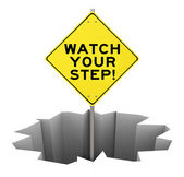 Watch Your Step on a yellow warning sign — Zdjęcie stockowe