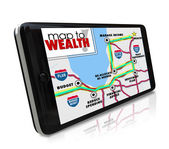 Map to Wealth navigation on GPS global positioning system — 图库照片
