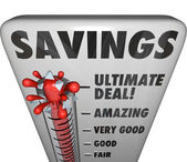 Savings Thermometer Store Sale Discount Bargain Deal Level — Stock Photo