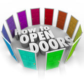 How to Open Doors Words Opportunity Entry Access New Paths — Stockfoto