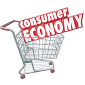 Consumer Economy Shopping Cart Buying Goods Customer Orders — Stock Photo