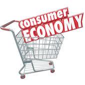 Gospodarka konsument kupując towary koszyk zamówień klientów — Zdjęcie stockowe