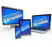 Connect Anywhere Computer Laptop Smart Phone Desktop Tablet Devi — Stock Photo