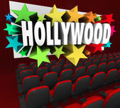 Hollywood Silver Screen Movie Theater Show Business Industry — Stock Photo