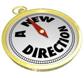 A New Direction Words Gold Compass Choose Change Career Path — Stock Photo