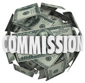 Commission word on a ball of hundred dollar bills — Foto Stock