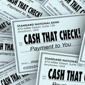 Cash That Check Money Payment Pile Fast Convenient Service — Stock Photo