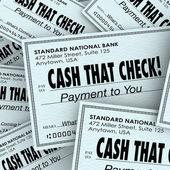 Cash That Check Money Payment Pile Fast Convenient Service — Stock Photo
