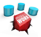 Make It Work Force Fit Challenge Solution Square Peg Round Hole — Stock Photo