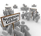 Support Group People Meeting Around Signs Help — Stock Photo