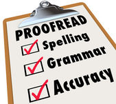 Proofread Clipboard Checklist Spelling Grammar Accuracy — Stock Photo