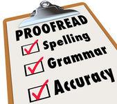 Proofread Clipboard Checklist Spelling Grammar Accuracy — Stock Photo