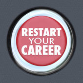 Restart Your Career Red Car Button New Job Work Employee — Stock Photo