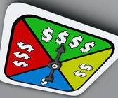 Dollar Sign Board Game Spinner Win Riches Lottery Take Chance — Zdjęcie stockowe