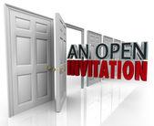 Eine offene einladung worte geschäfts tür begrüßen kunden besuchen — Stockfoto
