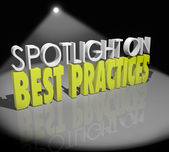 Spotlight on Best Practices 3d words — Stock Photo