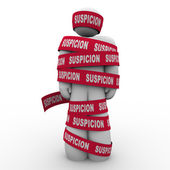 Suspicion Man Wrapped Red Tape — Stockfoto