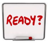 Ready Word Dry Erase Board Prepared Question Readiness Preparati — Stock Photo