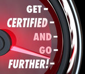 Get Certified and Go Further Speedometer Certification License Q — Stock Photo