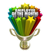 Employee of the Month Gold Trophy Award Top Performer Recognitio — Stock Photo