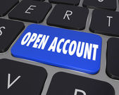 Open New Account Computer Keyboard Key Button Register Online Se — Stock Photo