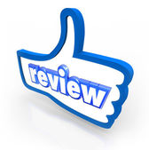 Review word on a blue thumbs up symbol — Stock Photo